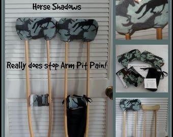 Fleece Padded Crutch Covers & Hand Grip Set, Horse Shadows Crutch Pads, Equestrain Crutch Tote, Toe Bootie Cast Sock, Washable Crutch Wraps