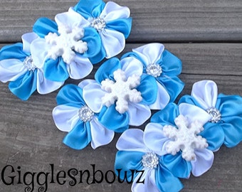 Set of THReE Embellished BLuE/WHiTE SaTiN CLuSTeR Flowers- GLiTTeRY SNowFLaKEs- 4 inch Size