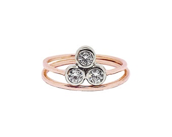 Past Present Future ring | Alternative Engagement Ring | Three stone Moissanite Engagement ring | Reclaimed 14K Rose Gold