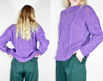 Purple Cable Knit Sweater / Solid Tone Pullover / S M L Small Medium Large
