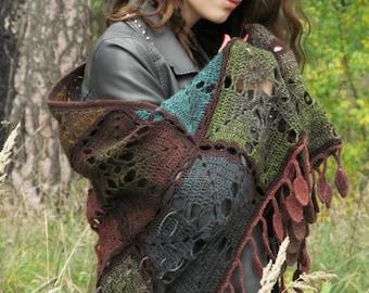 """Wool shawl - crochet rainbow shawl - handmade shawl - triangular big shawl - boho crochet shawl - gypsy shawl - lace shawl """"Autumn Moment"""""""
