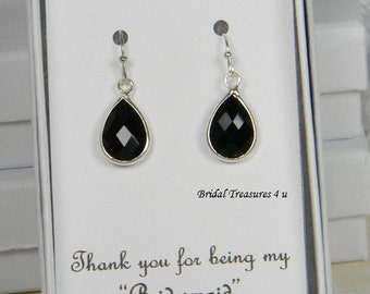 Black / Silver Bridesmaids Teardrop Earrings, Jewelry Bridal Earrings, Black Bridesmaid Gift, Black Teardrop Bridesmaids Earrings - TD