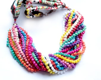 Multi Strand necklace Beaded necklace Crochet necklace Multicolor necklace Statement necklace Bright necklace Boho Necklace Chic jewelry