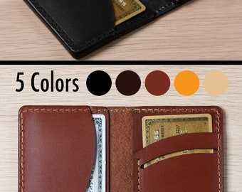 Men's Leather Wallet - Wickett & Craig Full Grain Leather / Bifold Wallet /Personalized Card Wallet /Slim Wallet / Front Pocket /Multi Color