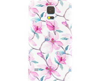 Magnolia Samsung Galaxy S8 Case iPhone 8 Case Floral iPhone 7 Case Watercolor Flower iPhone 6S Plus Case, Samsung Galaxy S7 Floral Magnolia