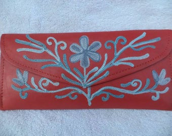 Red Leather Embroidered Wallet