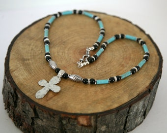 Men's Turquoise and Onyx Cross Necklace, Masculine Jewelry, Father's Day, Men's Cross Necklace, Masculine Necklace, Turquoise Necklace