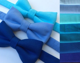 Blue bow tie. Blue baby bow tie. Blue adult bow tie. Royal blue bow tie. Navy blue bow tie. Teal bow tie.