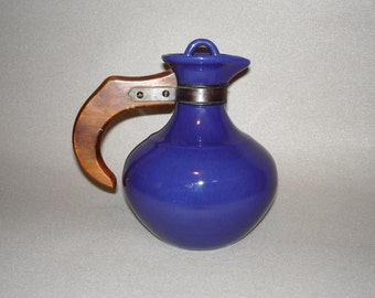 Franciscan Pottery Cobalt Carafe Wooden Handle
