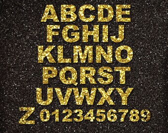 Gold Glitter Alphabet Clipart Gold Digital Alphabet Letters Gold Digital Alphabet Numbers 4''x4'' 300dpi GOLD GLITTER ALPHABET #L004