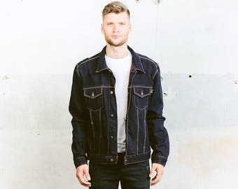 Vintage 80s Denim Jacket . Mens 90s Purple Jacket Dark WASH Denim Trucker Jeans Jacket Distressed Worn In Dark Crop Jacket . size Large