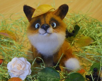 Felt toy, felt toy fox, felted toy, Felted toy fox, toy fox. (MADE TO ORDER).