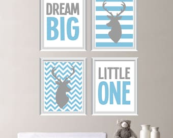 Dream Big Little One Deer Quad - Baby. Decor. Nursery. Boy. - Shown in Light Blue, Gray - You Pick the Size (NS-158)