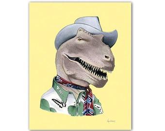 T-Rex print - Dinosaurs - modern kids art - art print - animals in clothes - animal artwork -  by Ryan Berkley 5x7