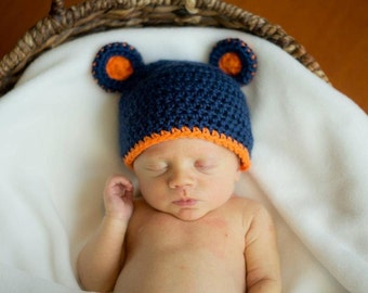 Chicago Bears Crochet Hat with Bear Ears