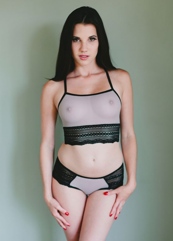 Sheer Mesh Bra - See Through Pale Gray 'Johnny Jump Up' Style - Made To  Order Custom Fit Lingerie