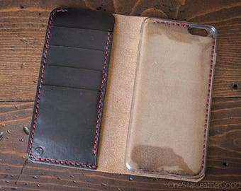 """iPhone 6+ (5.5"""") cell phone wallet case - black/red"""