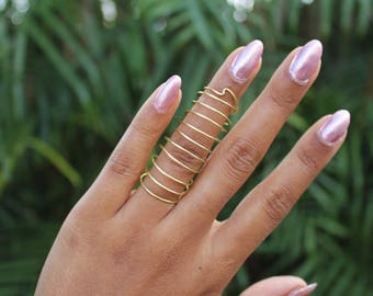 Brass Full Finger Coil Ring