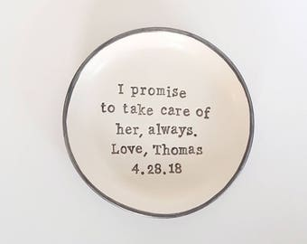Mother of the bride gift, take care of her, mother of the groom, Personalised Ring dish, ring bowl, wedding gift, mothers day, trinket