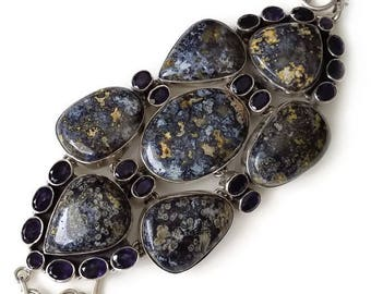Blue Jasper and Iolite Sterling Silver Bracelet