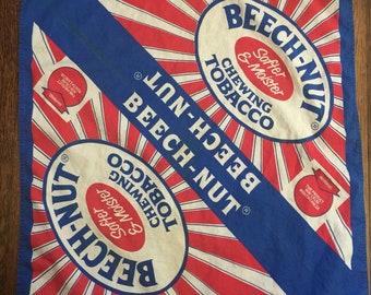 Vintage Beech Nut Chewing Tobacco Bandana Handkerchief