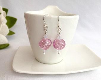 Pink lampwork earrings, pink earrings, gift for her, lampwork jewellery, pink sparkle earrings, Spring gift, gift for mum