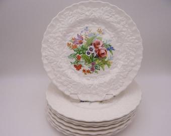 Vintage Alfred Meakin Hand Embellished Floral Salad Plate - MEA246 - 8 Available