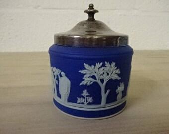 Wedgwood Blue Jasperware Preserve Pot/Sugar Pot/Blue Jasperware/Wedgwood China/Jasperware/China Pot/Lidded Pot/Blue & White/Vintage