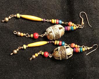 Vintage Long Drop Dangle Earrings, Mulitcolor Beads