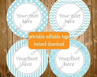 Baby Shower Birthday Party Editable Printable Blue Grey Party Supplies Stickers Favor Tags INSTANT DOWNLOAD