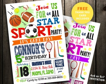 All Star Birthday Invitation, All Star Invitation, Sports Invitation party, All Star Boy girl digital file sport invite blue pink printable
