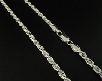 Rope Chain // Thick Rope Chain // Heavy Silver Rope Chain // 925 Sterling Silver // 3.7mm Gage // Varius Sizes