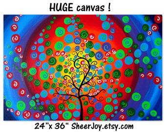 "tree of life, painting of, tree, trees, tree art, tree painting, tree of life painting,on canvas, colorful painting, abstract art, 36"" x 24"""
