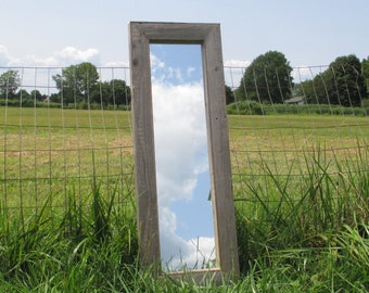 Rustic Floor Mirror Made From Reclaimed Wood - Small 40 x 14