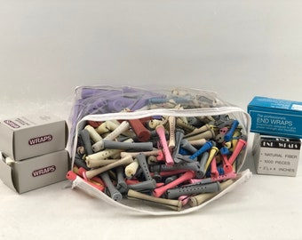 Huge Lot of Vintage Perm Rods, Many Sizes, 275+ Pieces, 4 Boxes End Wrappers