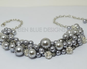 Gray Pearl Necklace, Gray Cluster Necklace, Grey Chunky Necklace, Gray Pearl Necklace, Bridesmaid Jewelry, Pearl Jewelry, Bauble Necklace