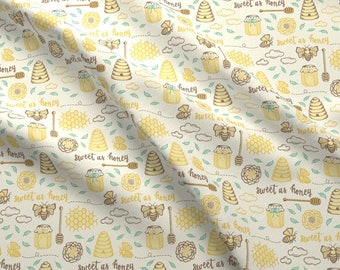 Sweet As Honey Fabric -  Sweet As Honey - Gold By Jaymehennel - Summer Honey Kitchen Decor Cotton Fabric By The Yard With Spoonflower