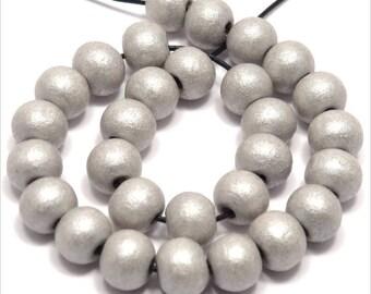 Set of 50 round beads 8mm gray wood