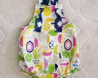 Citrus Lemon Romper , Lemon Baby Romper , Yellow Baby Romper , Pink Lemonade Romper , Lemonade Romper , Lemonade Party , Toddler Romper