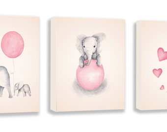Set of 3 Canvas Art - Baby Girl Nursery - Elephant Nursery - Nursery Art - Pink and Gray - Nursery Decor - Art for Children - S057