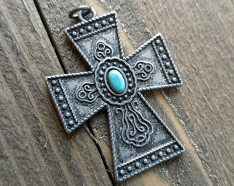 Large Cross Pendant Antiqued Silver Cross Charm Turquoise Charm Vintage Style Focal Pendant Religious Charm 1.75""