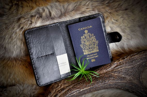 Black Leather Passport Cover Travel Wallet