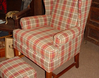 Chippendale Tall Wingback Chair by Fairfield Chair in NC Salmon and grey plaid fabric