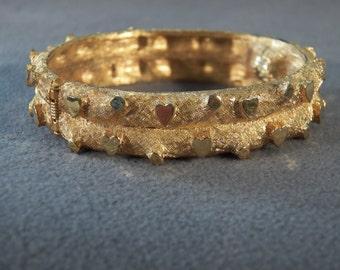 Vintage Yellow Gold Tone  Fancy Raised Relief Design Bangle Bracelet
