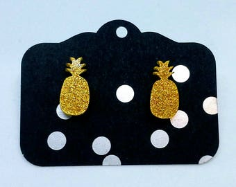 glitter yellow pineapple studs