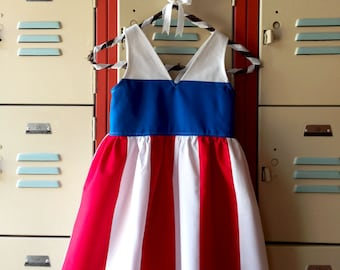 Girls Patriotic Dress, Girl Red White and Blue Dress, Girls 4th of July Dress, Girls Snow White Dress, Girls Casual Dress, Girls Dress