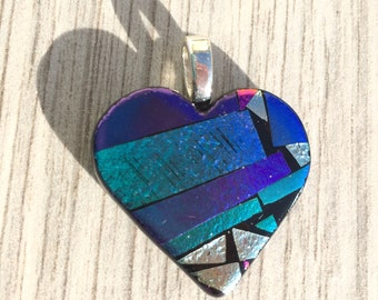 Dichroic Fused Glass Pendant - Mosaic Heart Pendant