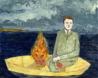 patrick set a fire to guide him on his journey - limited edition print of oil painting, wall art