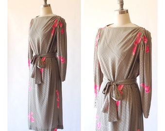 vintage grey silk dress / size large