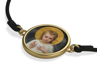 Religious gifts - Christ Child - 2 colors - Cord Bracelet - Religious Jewelry - christian Bracelet - Child Jesus art - Religious art